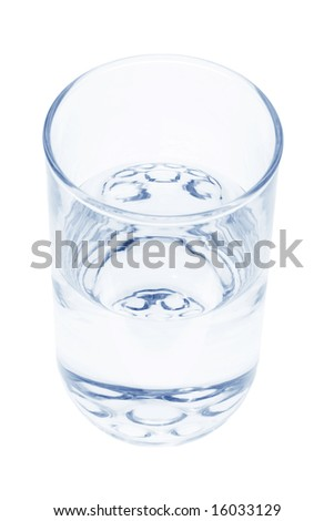Glass of Water on Isolated White Background