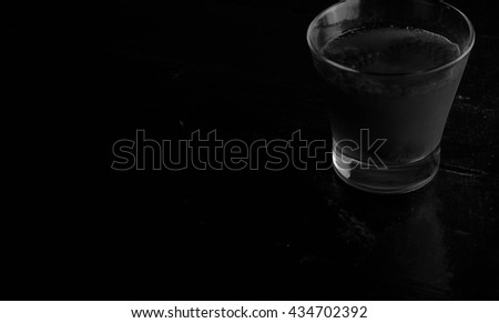 Glass of water on wooden background