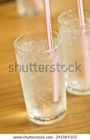 glass of water placed on a wooden table