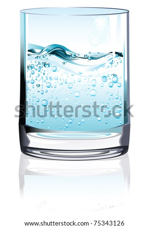 Glass of water. Raster version of vector illustration