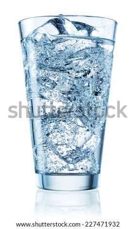 Glass of water. Soda with ice. Clipping path - stock photo