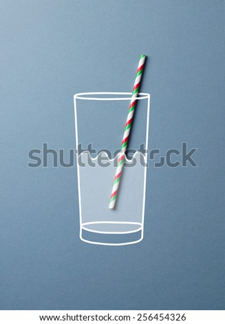 Glass of water with a colorful straw doodle concept. This image is a photograph with drawing over it - stock photo