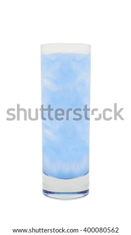 glass of water with ice isolated on white - stock photo