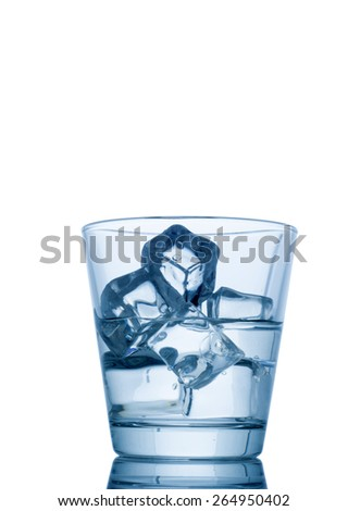 glass of water with ice isolated on white background  - stock photo