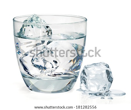 Glass of water with ice on white background - stock photo