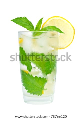 glass of water with lemon and mint - stock photo