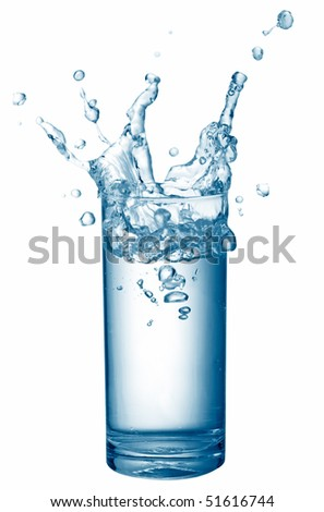glass of water with splash against white background - stock photo