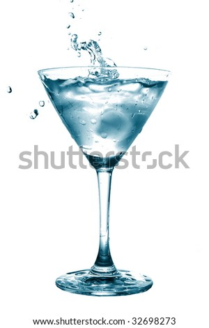 glass of water with splash isolated on white background
