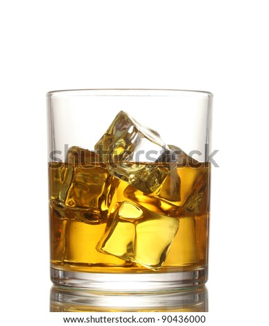 glass of whiskey and ice isolated on white - stock photo