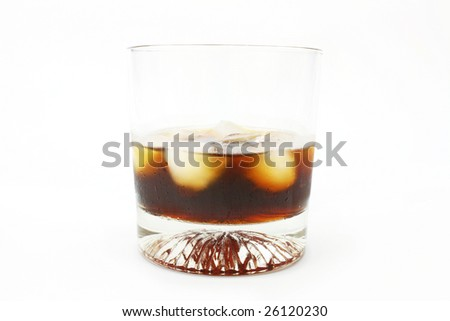 glass of whiskey isolated on white - stock photo