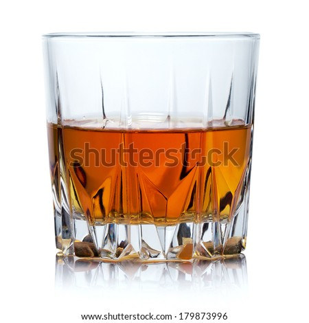 Glass of whiskey isolated on white background. Clipping Path - stock photo