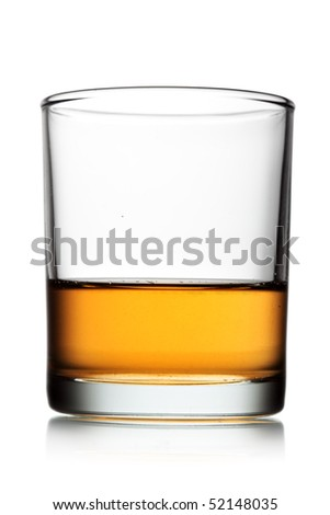 Glass of whiskey isolated over white background - stock photo