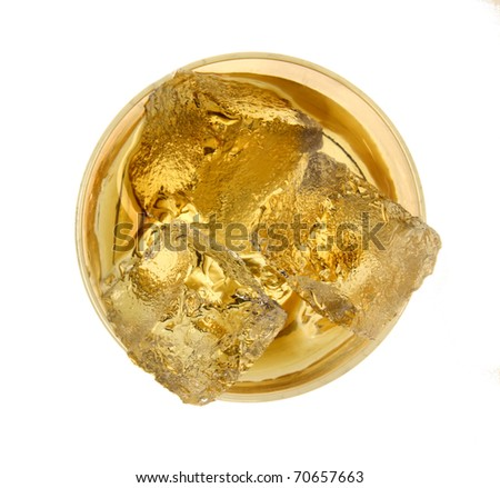 Glass of whiskey, top view - stock photo