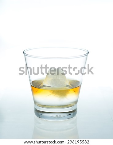 Glass of Whiskey with Mount Fuji shaped ice cube