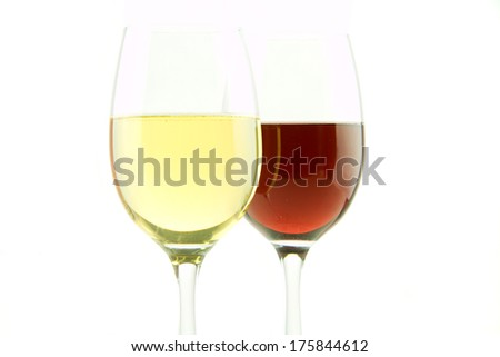 Glass of white and red wine isolated