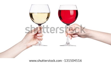 glass of white and red wine making toast isolated on a white background