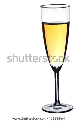 Glass of white wine against a pure white background - stock photo