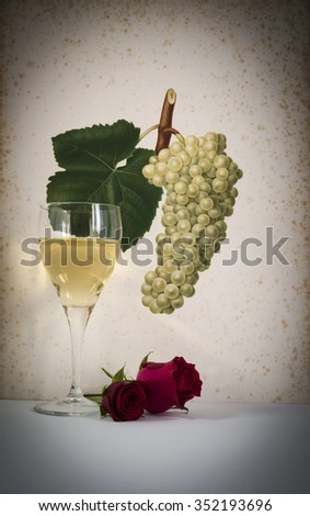 glass of white wine background grape cluster decorated, romantic moment with flowers rose , natural light, vertical photo - stock photo