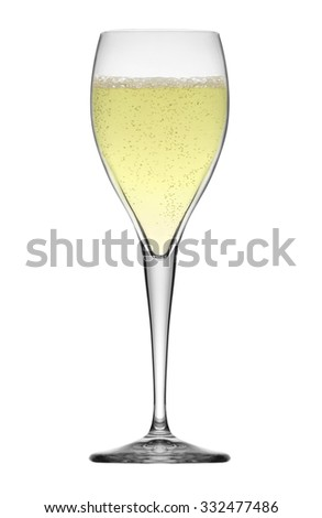 glass of white wine isolated on white - stock photo