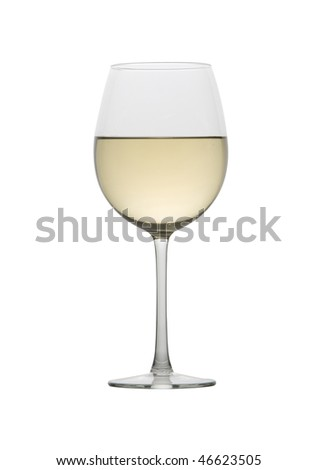 Glass of white wine on a white background