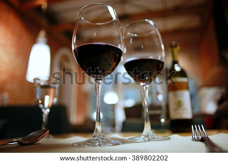 glass of wine, a restaurant serving a blurred background - stock photo