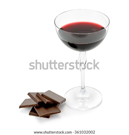 glass of wine and chocolate isolated on white background - stock photo