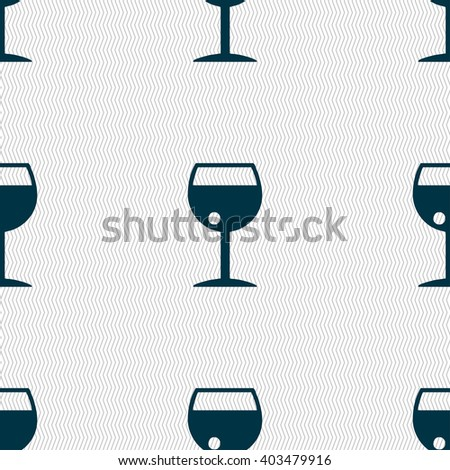 glass of wine icon sign. Seamless pattern with geometric texture. illustration - stock photo