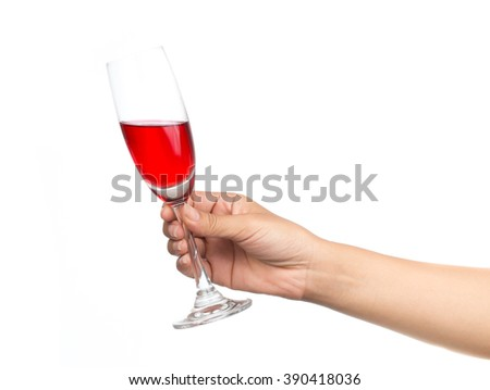 glass of wine in hand isolated on white background