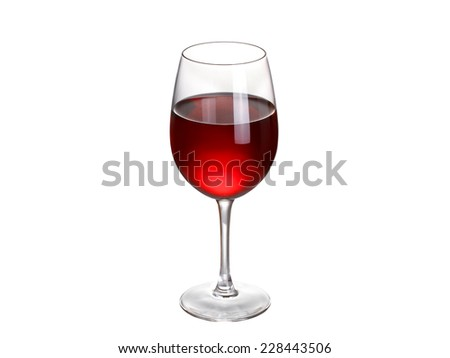 Glass of wine isolated on a white background - stock photo