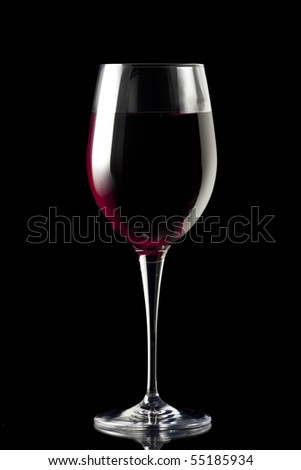 Glass of Wine Isolated on Black
