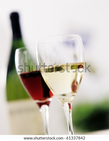 Glass of wine red and white - stock photo