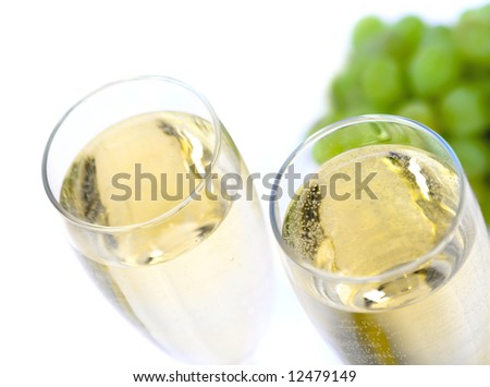 Glass of wine with grape close up