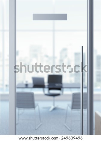 glass office door with nameplate. 3d rendering - stock photo