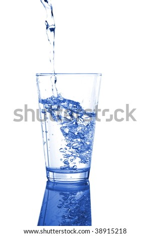 glass or cup of splashing water on white background