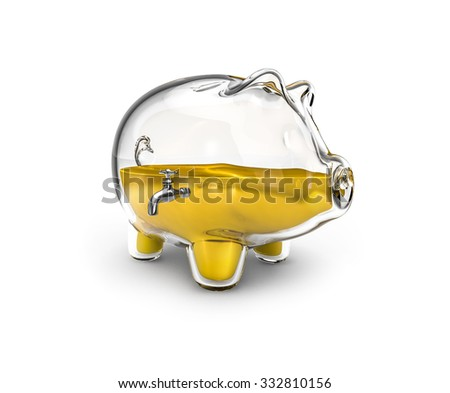 Glass piggy bank / 3D render of glass piggy bank with tap half full of liquid gold - stock photo