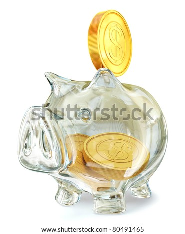 glass piggy bank isolated on a white