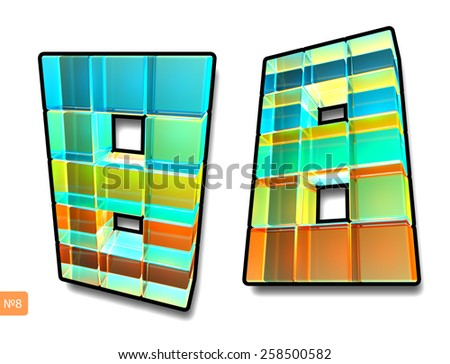 Glass pixel number eight. - stock photo