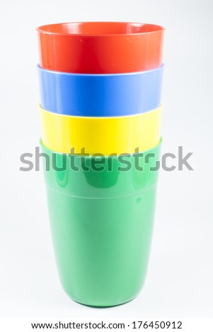 Glass, plastic red green blue. on White background  - stock photo