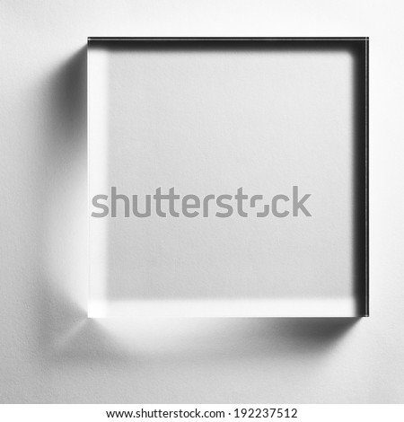 glass plate on white paper - stock photo