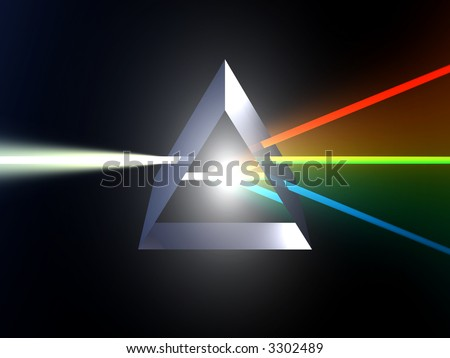 Glass prism splitting white light - stock photo
