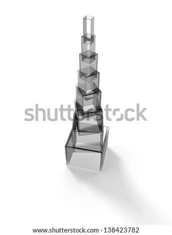Glass pyramid with gray cubes - stock photo