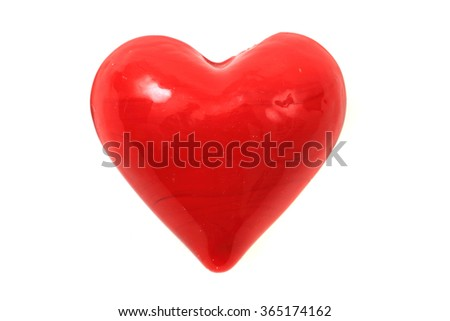 glass red heart isolated on the white background