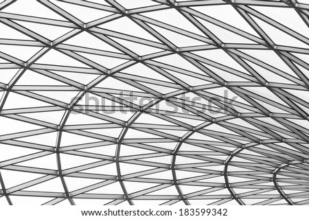 Glass roof in black and white - stock photo
