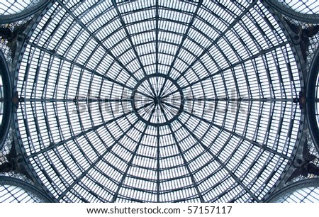 glass roof of the Galleria Umberto I in Napoli, Italy - stock photo