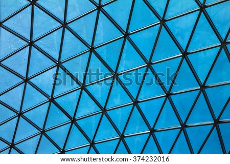 Glass roof with beautiful pattern structure and beautiful clear blue sky, best patterned background