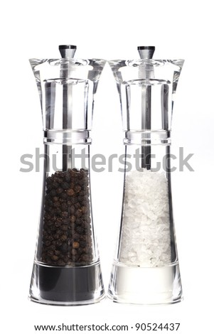 Glass salt and pepper - stock photo