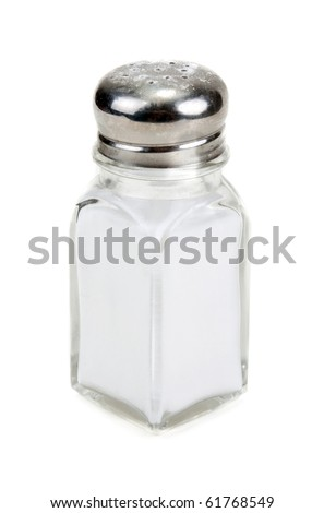 Glass saltcellar with salt insulated on white background - stock photo