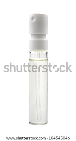glass sample bottle, isolated on white - stock photo