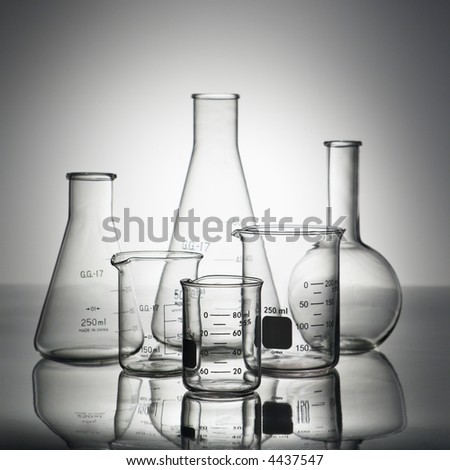 Glass science containers.