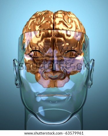 Glass severed human head with brain - this is a 3d render illustration - stock photo